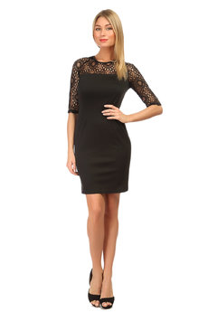 Черное платье с кружевными рукавами Mondigo