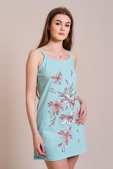 Ментоловая сорочка на бретельках с цветами FIORITA