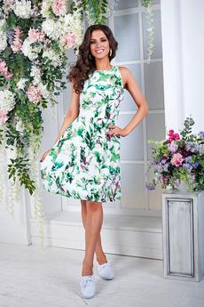 Платье с зелеными листьями Angela Ricci